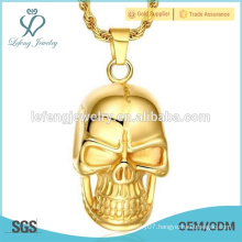 Hot sale gold plated jewelry stainless steel punk skull pendant necklace
