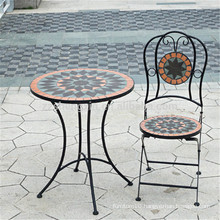 mosaic tile patterns round outdoor tables