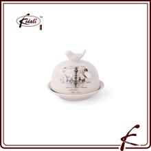 Mantequilla de cerámica Plato con patrón de decal