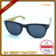 F15942 Glassic Style Sunglass with Natural Bamboo Arms