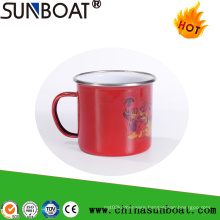 Porcelain Enamel Carbon Steel Mug with Stainless Steel Rolling Rim