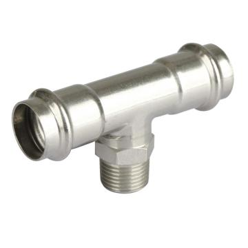 Acero inoxidable macho Tee Pipe prensa Fitting