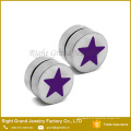 Pendientes falsos magnéticos modificados para requisitos particulares venta caliente rosada, azul, roja, negra de la estrella