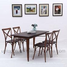 Wholesale Metal Restaurant Furniture Set with Cross Chair Backrest (SP-CT771)