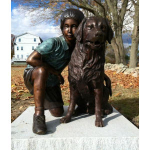 Bronze Boy and Dog Statue for Sale