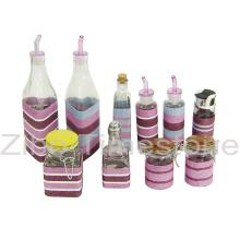 Glas mit Weben-Öl-Flasche (TM1208)