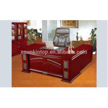 Mesa de escritório executiva de alta tecnologia curva com mesa lateral