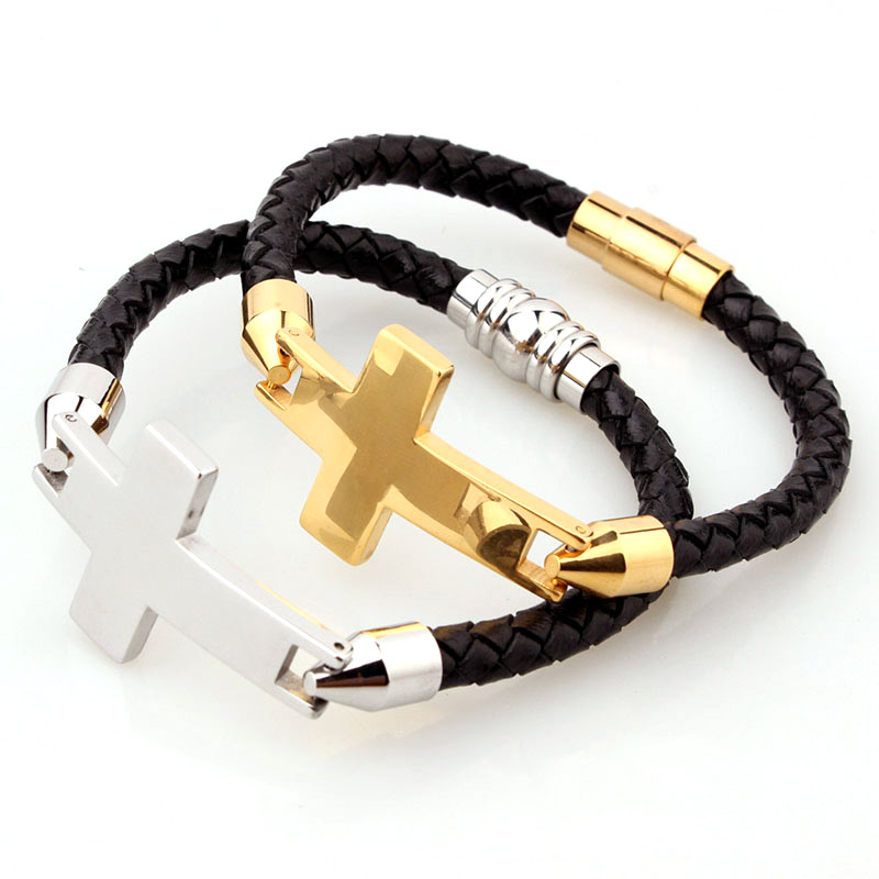 Mens Leather Cross Bracelet