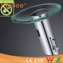 Grifo de cristal automático de cobre amarillo de la sola manija del cuarto de baño sin la batería (QH0109AP)