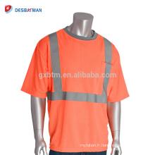 T-shirt gris adapté aux besoins du client de haute visibilité T-shirts T-shirt bon marché de travail de sécurité d'Orange de la classe 2 ANSI avec des bandes réfléchissantes