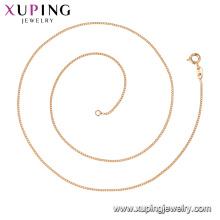 44738 Xuping Joyería al por mayor 18k oro plateado collares de cadena de estilo clásico simple