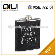 6oz brillo negro cuero envuelta frasco de la cadera del acero inoxidable promoción