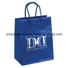 Bolso de compras del papel de arte de la manija de la cuerda azul de la manera