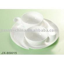 Xícara de café de porcelana branca e conjunto de pires JX-BS615
