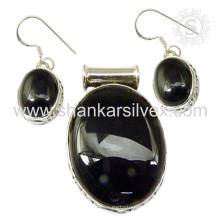 Nouvelle arrivée Black Onyx Gemstone Silver Jewelry Set 925 Bijoux en argent sterling Bijoux en gros