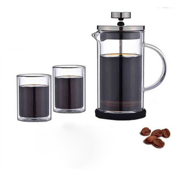 Heat Resistant double wall coffee french press ,two layer french press plunger , french press coffee maker