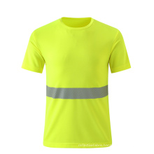 Breathable fluorescent yellow safety T shirt with reflective strip