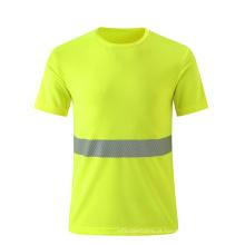 Camisa de segurança T amarelo fluorescente respirável com tira reflexiva