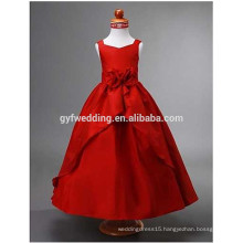 Sleeveless Lovely Red Stain Long Tank Flower Girl Dress for Wedding/ Christmas Party Ball Gown Girly Flower Dress D2