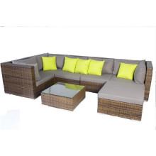 Коричневый ротанг Открытый садовый диван