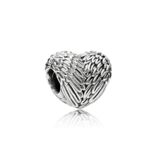 Manufacturers produce spot large hole heart-shaped feather 925 sterling silver beads diy jewelry beads Korean version bracelet l