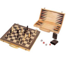 antique chess board set in wood