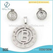 China fábrica direto forma redonda conjuntos de venda, personalizado prata jóias de aço inoxidável conjuntos venda quente