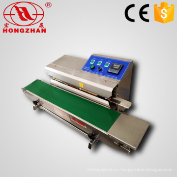 Continua banda sellador Horizontal tipo plástico película calor máquina de sellado con fecha de