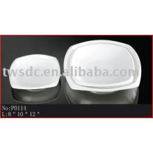Nuevo hotel cerámica vajilla cuadrada platos decorativos de porcelana y platos (P0114)