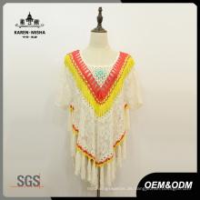 Frauen Floral Fashion Fringe Lace Poncho Pullover