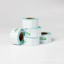 El código de barras termal directo en blanco blanco etiqueta rollos de la etiqueta engomada para la impresora de la cebra