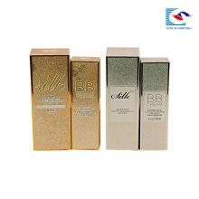 boîte de papier cosmétique d'estampillage d'or de scintillement pour la crème de BB