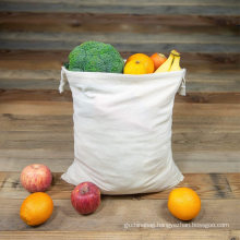 Wholesale Reusable 100% Natural Cotton Biodegradable Food Safe Produce Muslin Drawstrings Bags for Shopping Storage