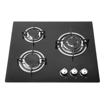Cuisinière en verre trempé noir 3 brûleurs, cuisinière à gaz