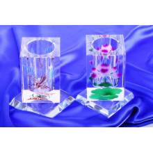 O suporte de escova de cristal elegante, gira o suporte da pena de cristal do suporte da pena