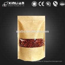 Bolsa de calidad alimentaria kraft ventana / bolsa de papel kraft con ventana