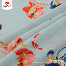 Desgin confortable tissu d'impression en mousseline de soie à fleurs en polyester