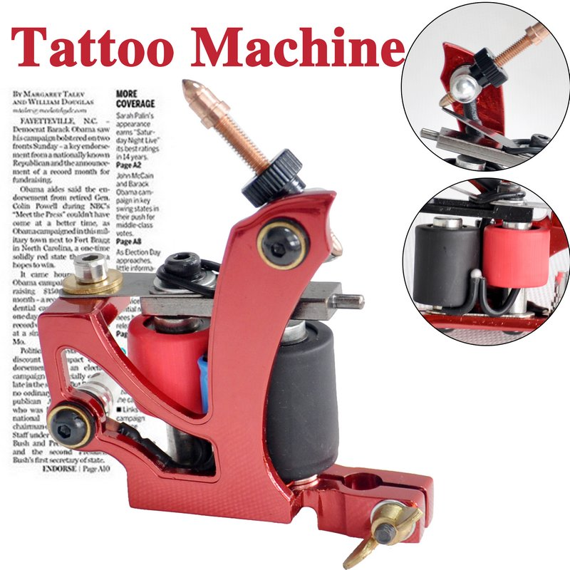 red tattoo machine gun