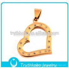 2016 Stilvolle Hohle Moderne Herz Mode Halskette Schmuck Liebe Herz Anhänger mit Kristallen