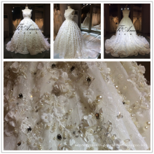 2017 Middle East HOT SELL Luxury Lace Heavy Beading 3D Flowers Wedding Dress Tiamero 1A056