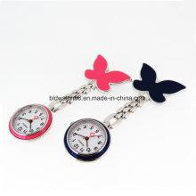Women′s Pendant Butterfly Nurse Clip Brooch Quartz Hanging Pocket Watch