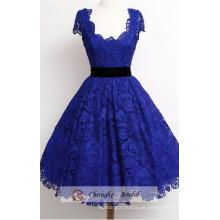 Alta calidad azul marino Prom vestidos escote cuello de encaje princesa vestido de fiesta de baile por encargo