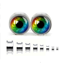 Stainless Steel Colorfull Eyeball Ear Tunnel Plugs Fashion Body Piercing Jewelry