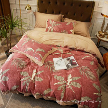 Home Textile Good Quality Bedding Set Cotton Brushed Fabric Soft for 4PCS King Bed