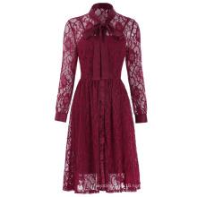 Kate Kasin Women's Vintage Elegant 2pcs Set Long Sleeve A-Line Wine Color Lace Dress KK000494-1