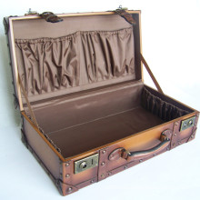 Custom decent vintage treated PU covering wooden frame display suitcase