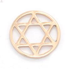 Günstige runde rose gold legierung fenster schwimmende antike glas charms speicher medaillon stern platten