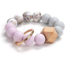 Silicone Key Ring Bracelet Beaded Wristlet Tassel