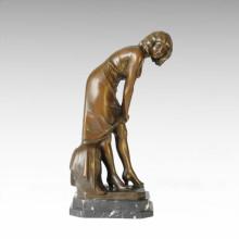 Classical Figure Statue Mild Lady Bronze Sculpture TPE-159