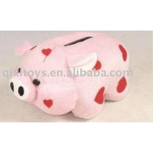 caja de dinero del cerdo de la felpa del juguete educativo, banco de moneda animal,
